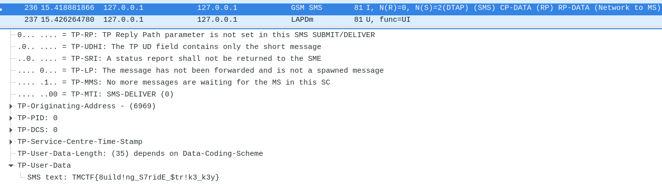 Signal 7 GSM capture - SMS data