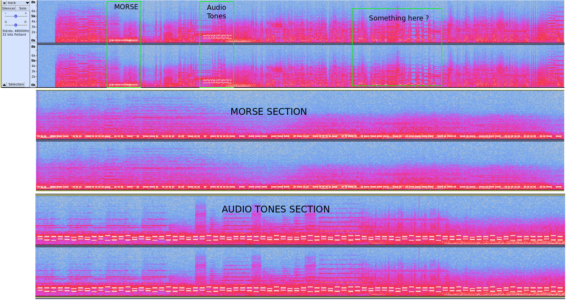 Sections in audio track